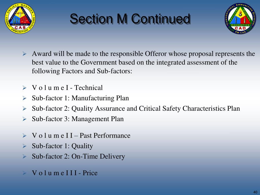 Section M Continued