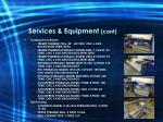 services equipment cont