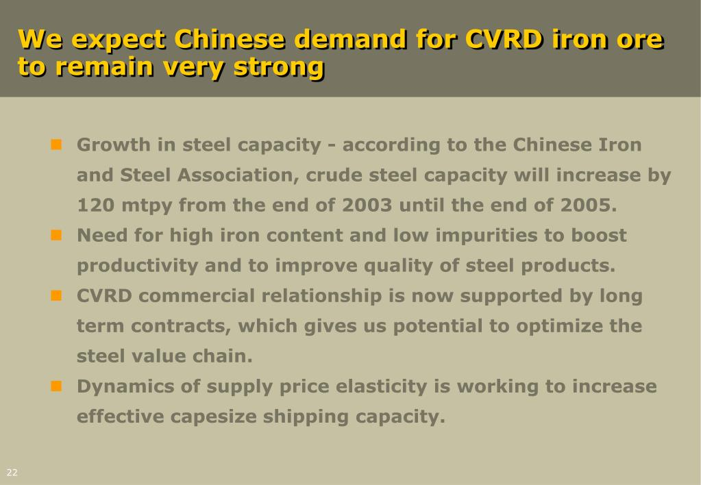 We expect Chinese demand for CVRD iron ore to remain very strong