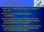 fef s challenge contributions volunteers