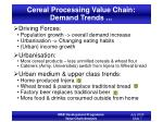 cereal processing value chain demand trends