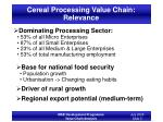 cereal processing value chain relevance