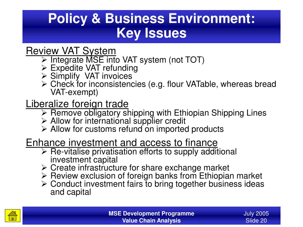 Policy & Business Environment: