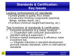 standards certification key issues