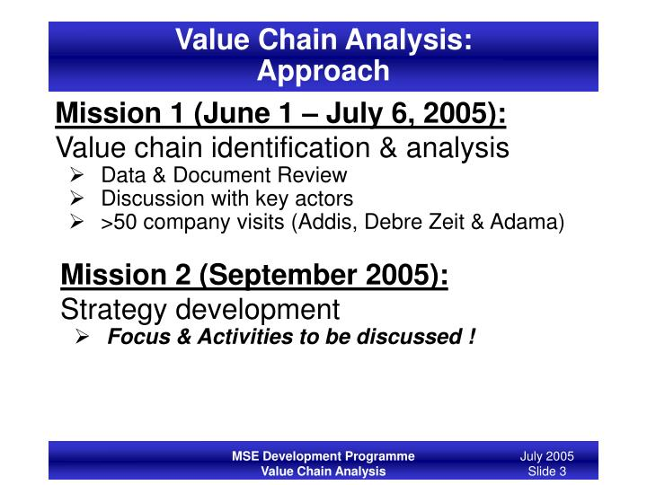 Value chain analysis approach