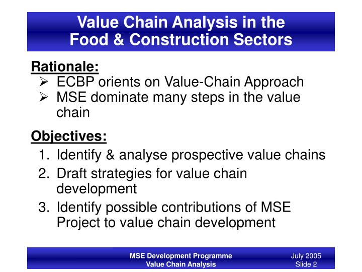 Value chain analysis in the food construction sectors2