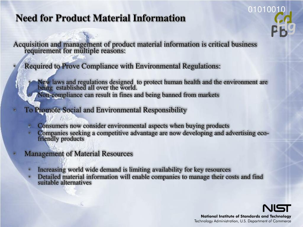 Need for Product Material Information