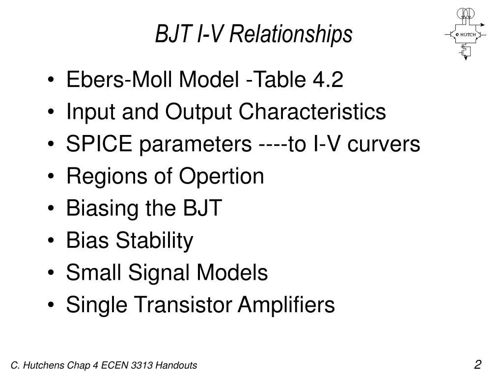 Ebers-Moll Model -Table 4.2