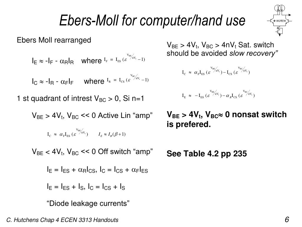 Ebers-Moll for computer/hand use