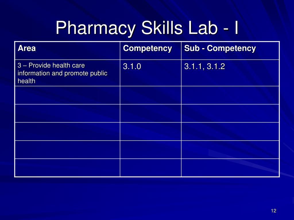 Pharmacy Skills Lab - I