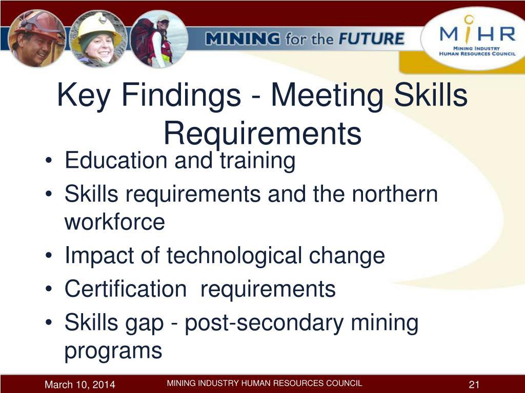 Key Findings - Meeting Skills Requirements
