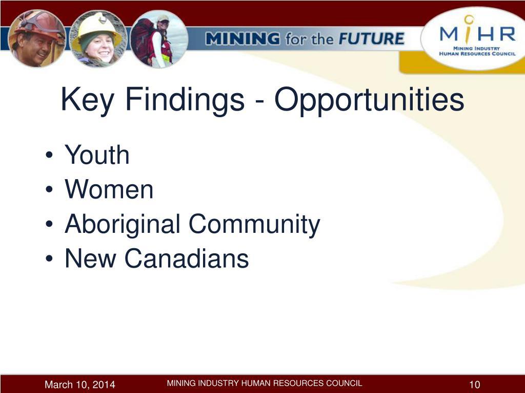 Key Findings - Opportunities