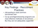 key findings recruitment practices