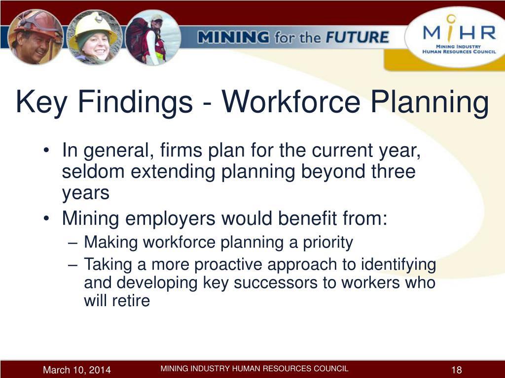 Key Findings - Workforce Planning