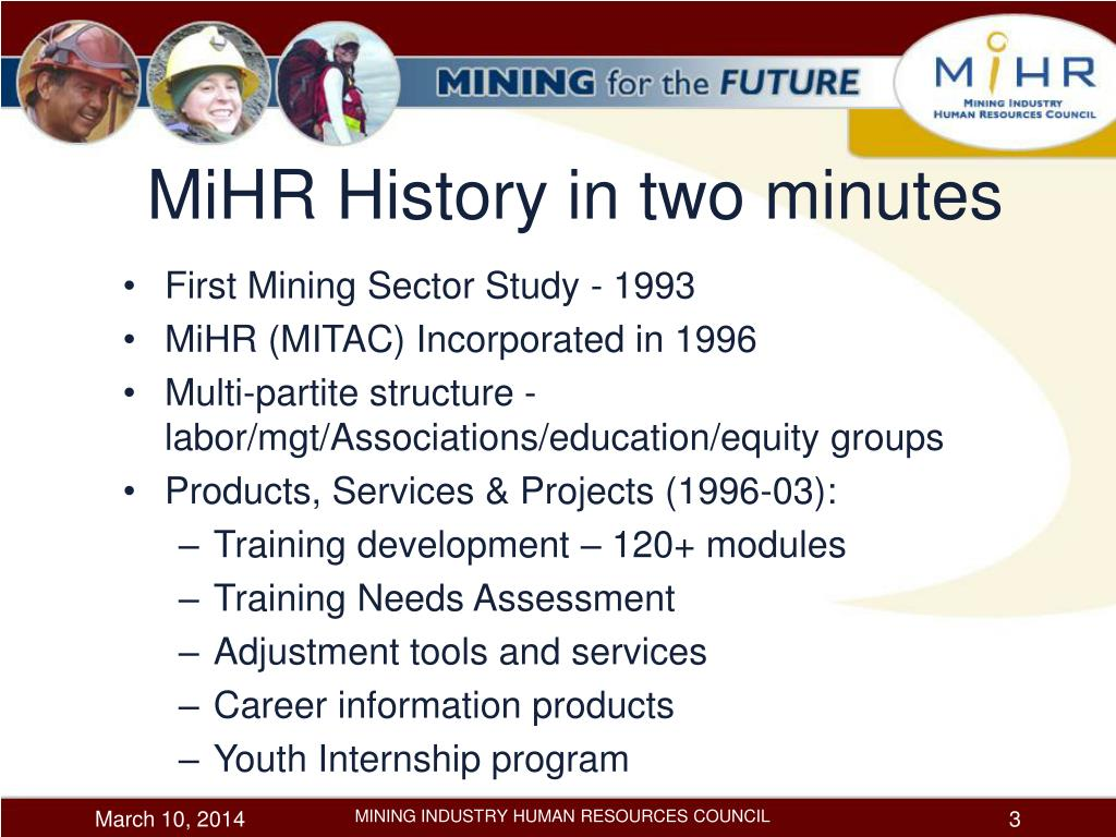 MiHR History in two minutes
