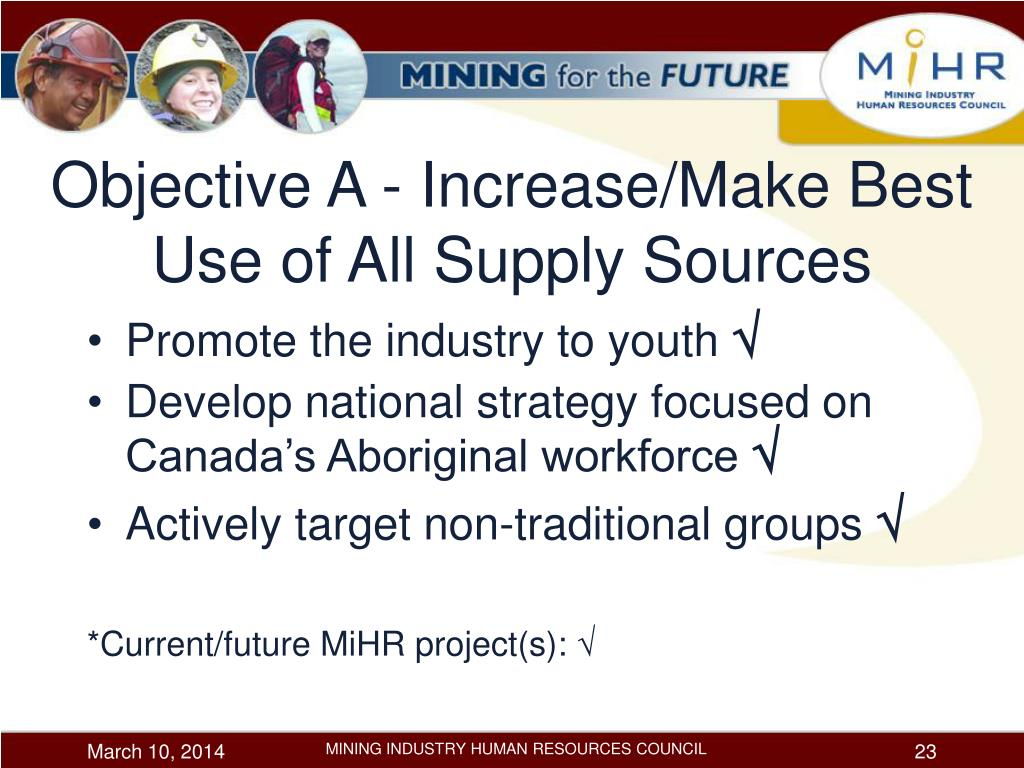 Objective A - Increase/Make Best Use of All Supply Sources