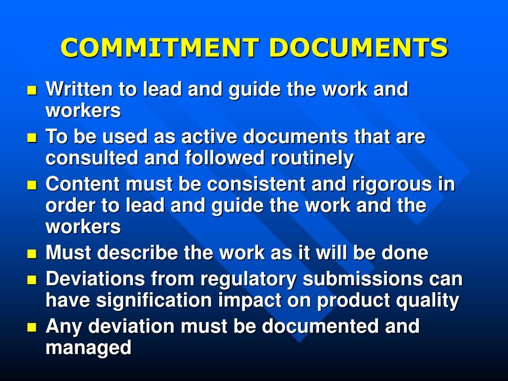 COMMITMENT DOCUMENTS