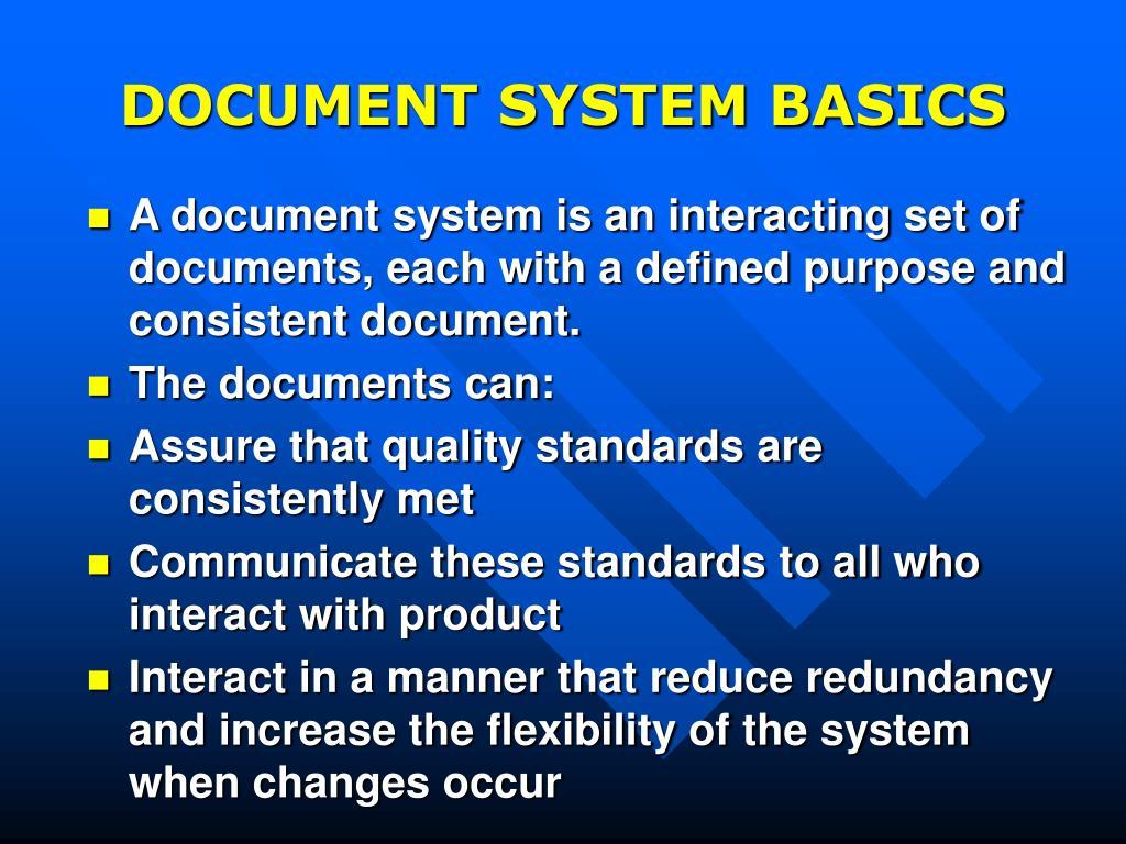 DOCUMENT SYSTEM BASICS