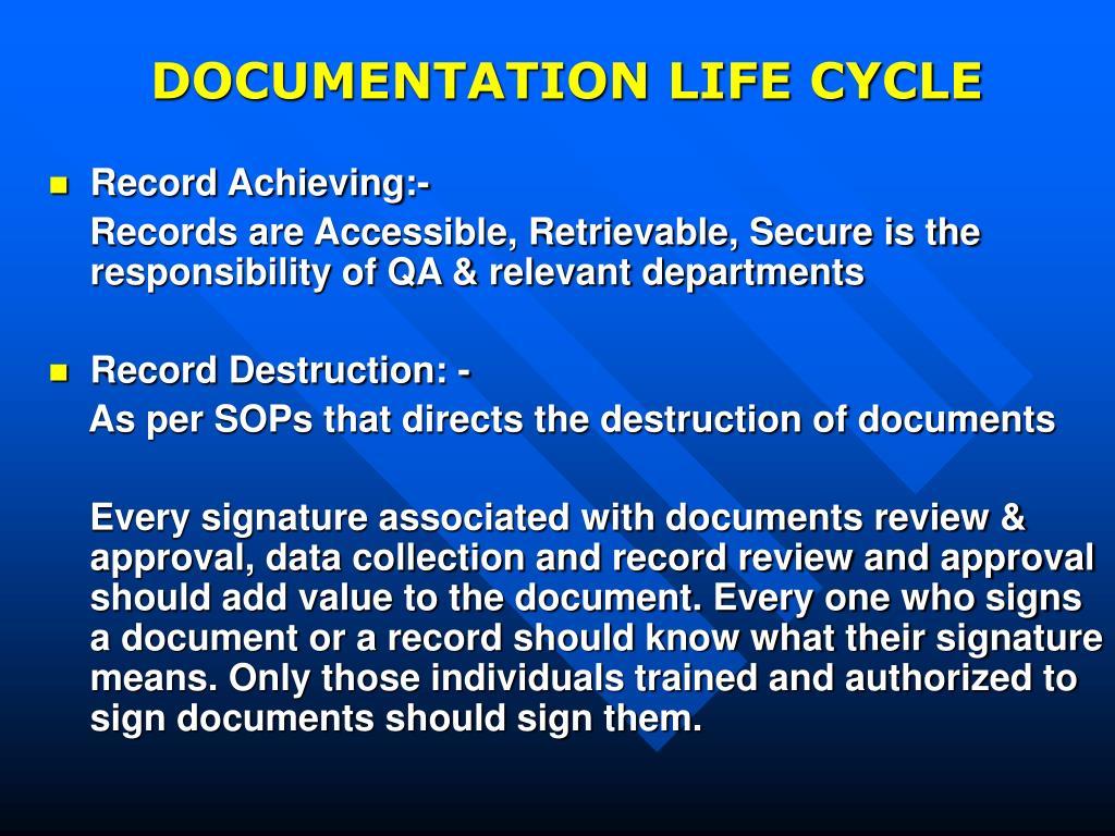 DOCUMENTATION LIFE CYCLE