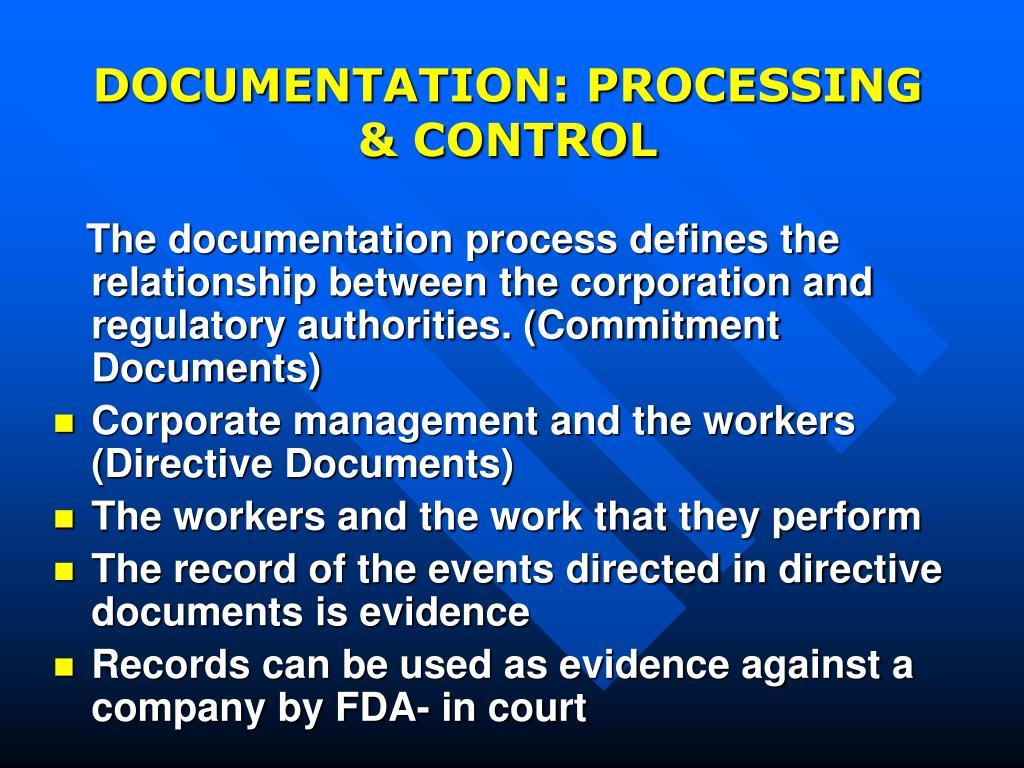 DOCUMENTATION: PROCESSING & CONTROL