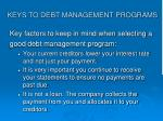 keys to debt management programs