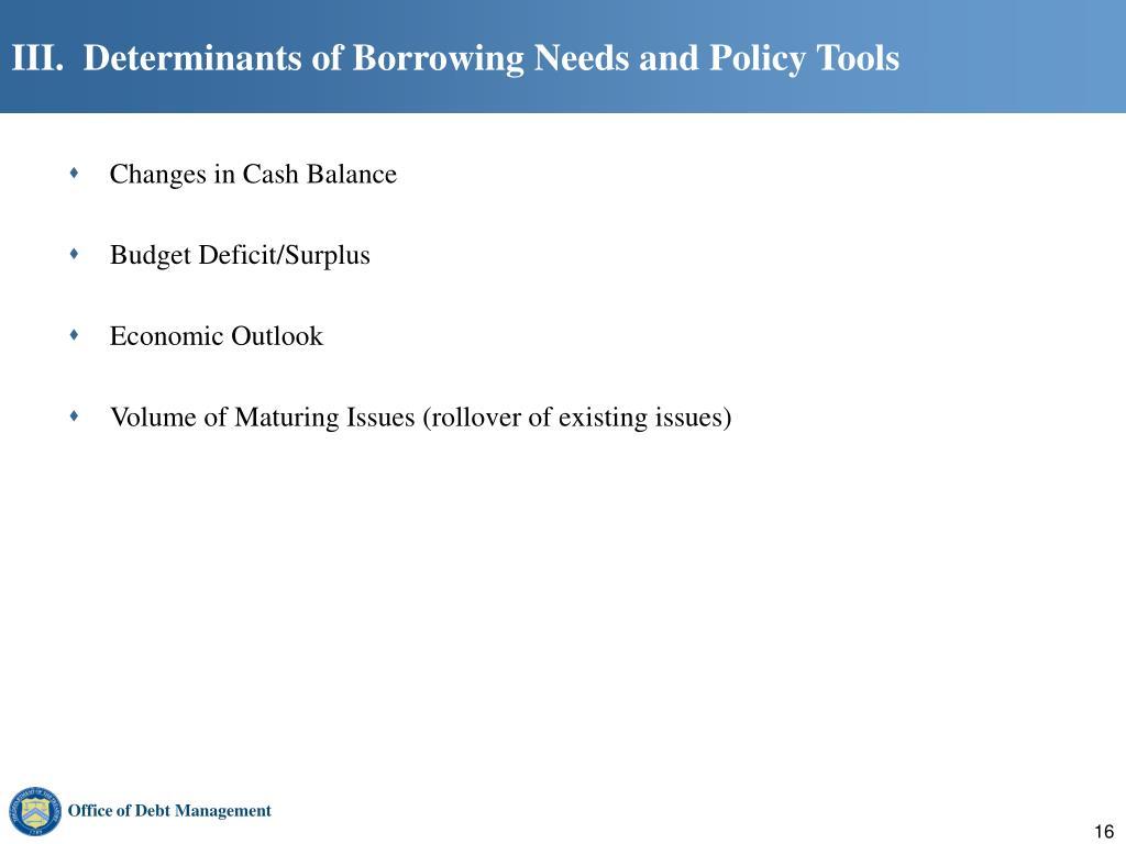 III.  Determinants of Borrowing Needs and Policy Tools