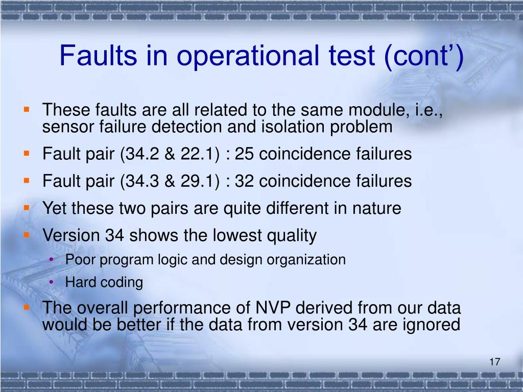 Faults in operational test (cont')