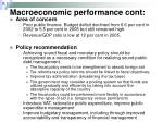 macroeconomic performance cont