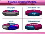 flywheel investment criteria