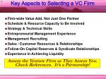key aspects to selecting a vc firm