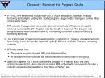 closeout recap of the program goals