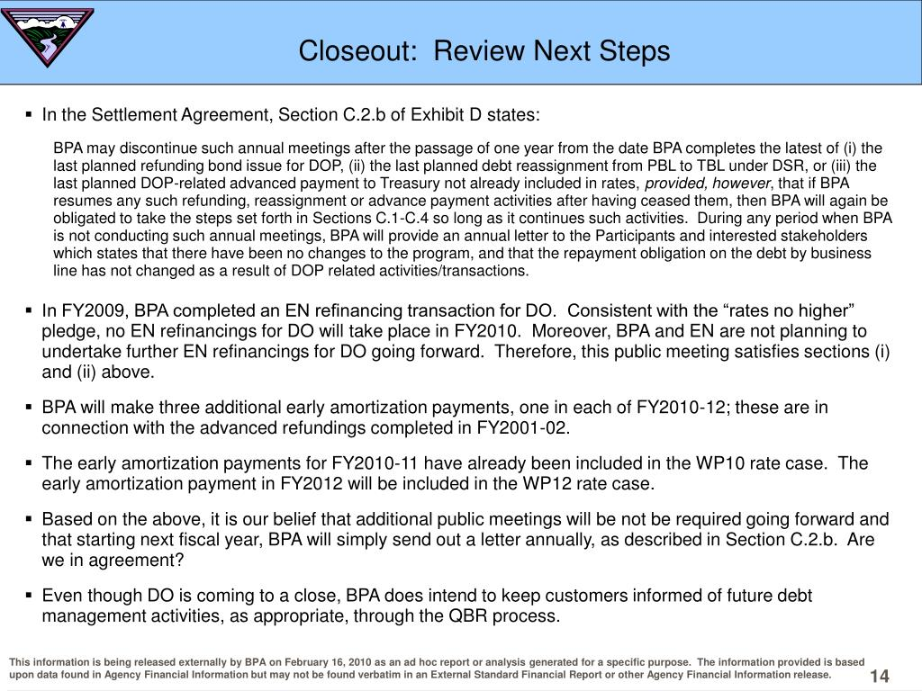 Closeout:  Review Next Steps