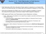 section c 1 i debt optimization debt service reassignment general review