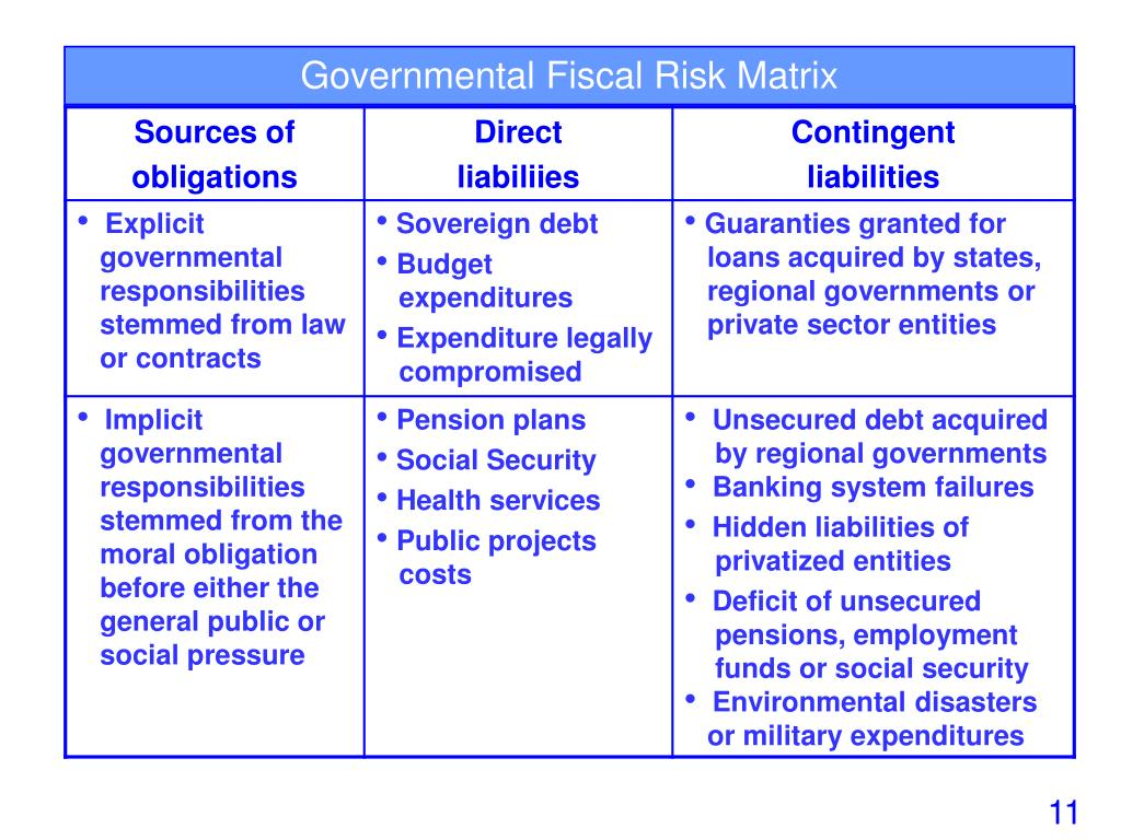 Governmental Fiscal Risk Matrix