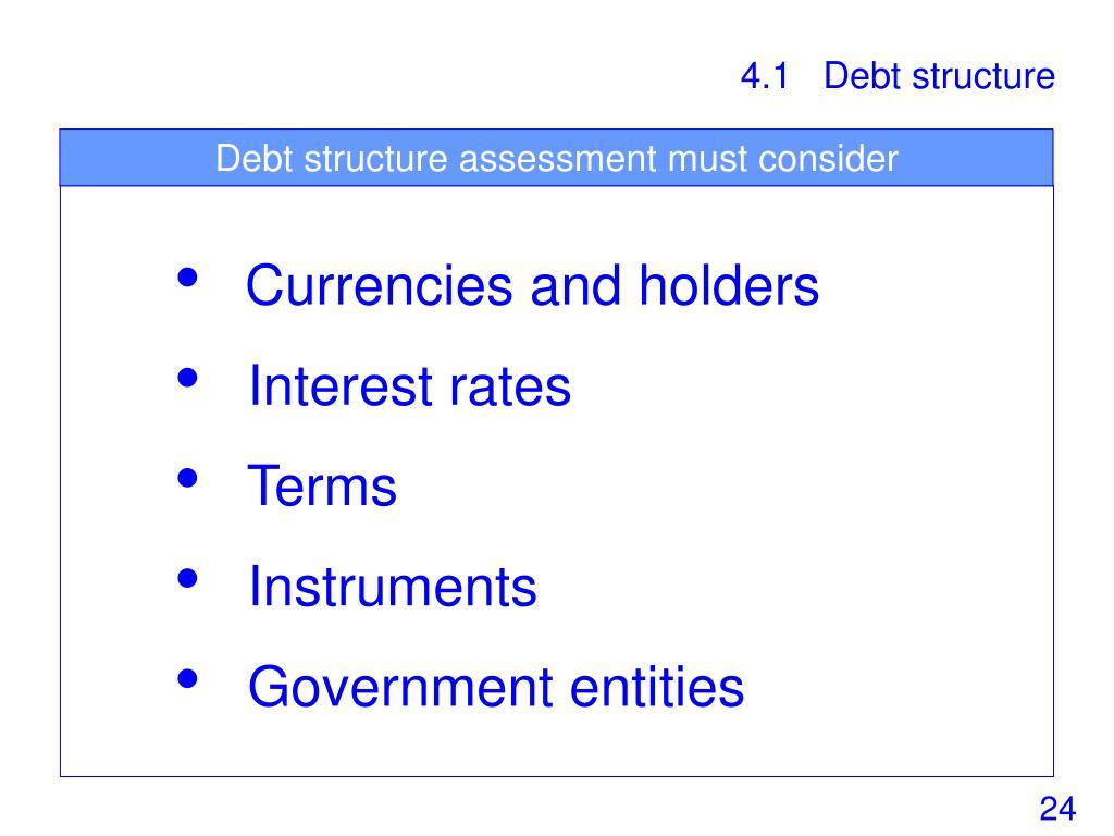 Debt structure assessment must consider