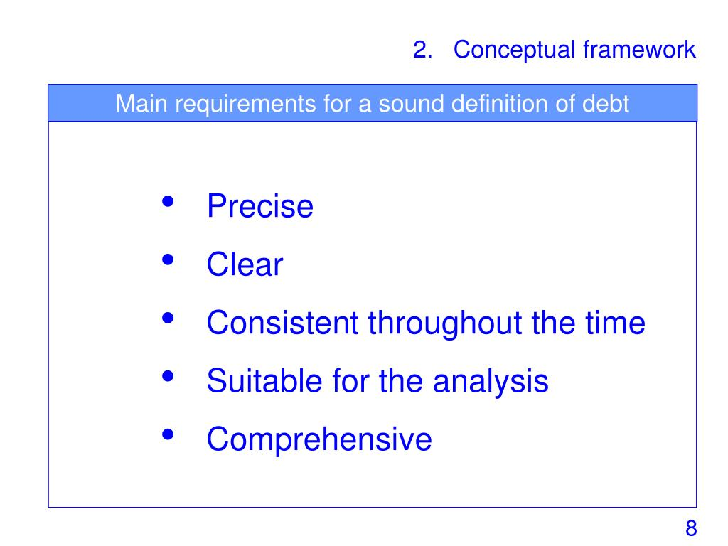 Main requirements for a sound definition of debt