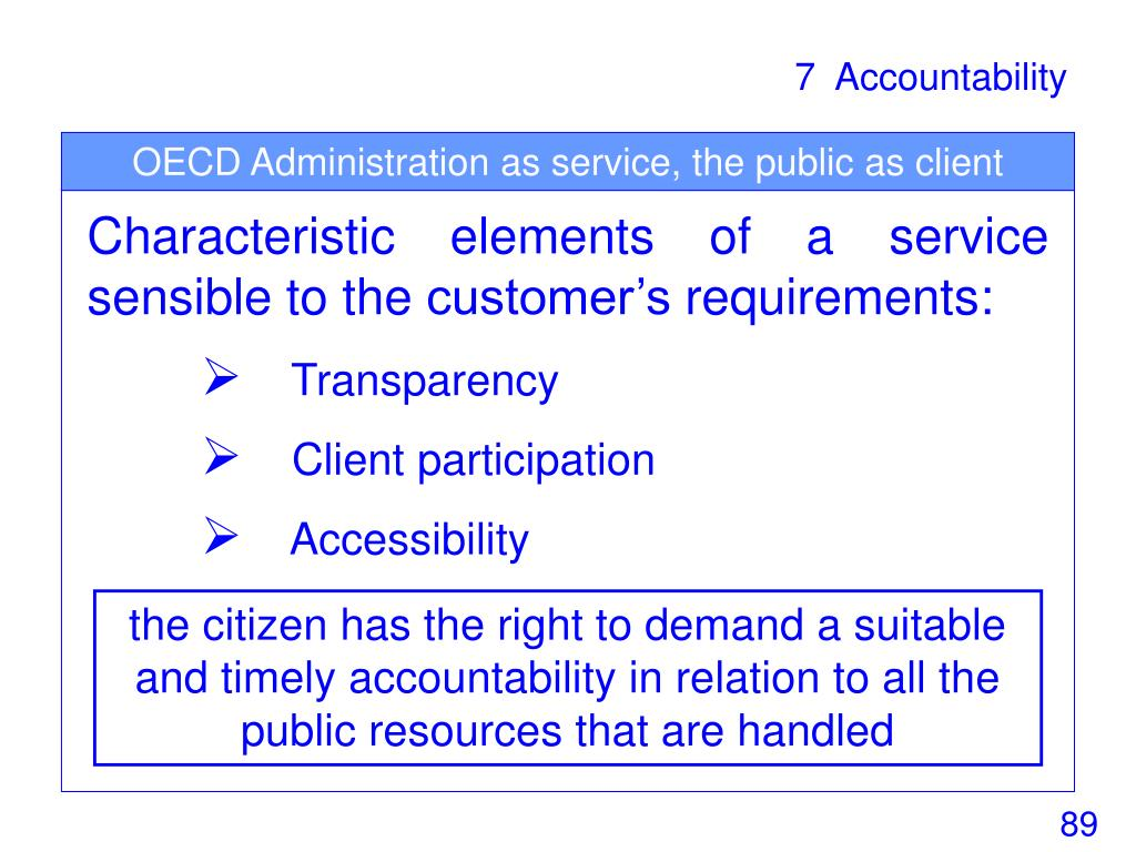 OECD Administration as service, the public as client