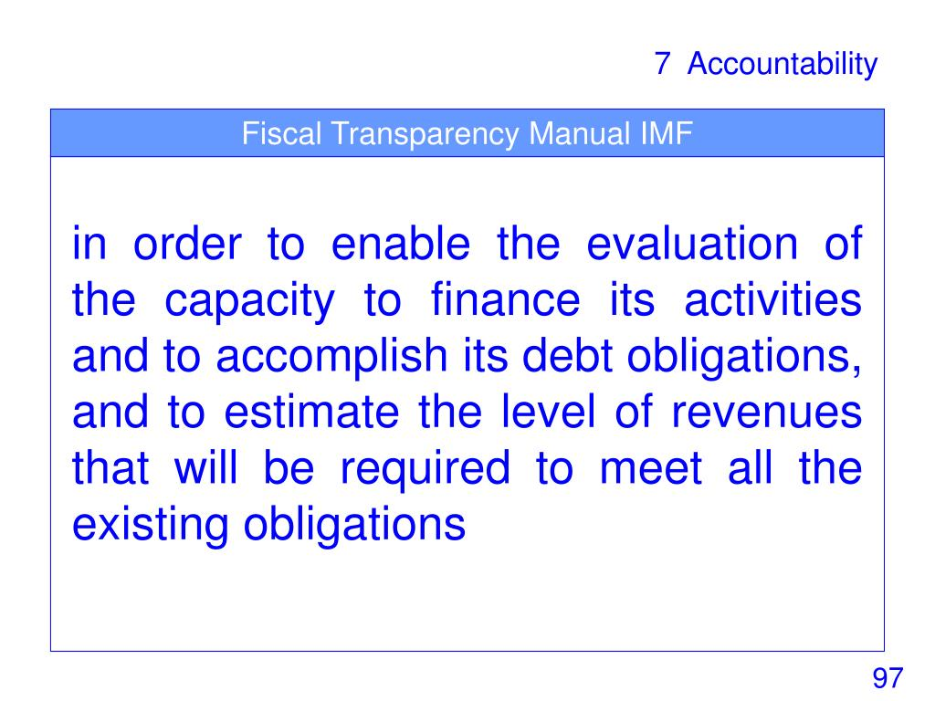 Fiscal Transparency Manual IMF