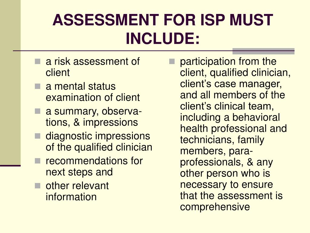 a risk assessment of client