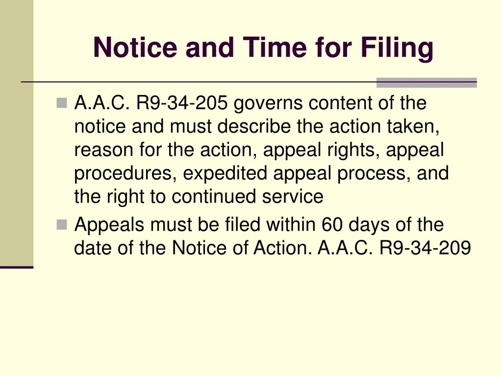 Notice and Time for Filing