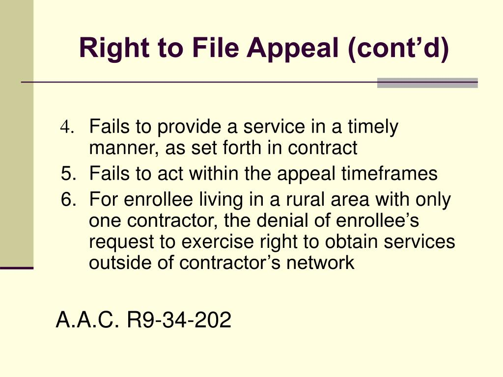 Right to File Appeal (cont'd)