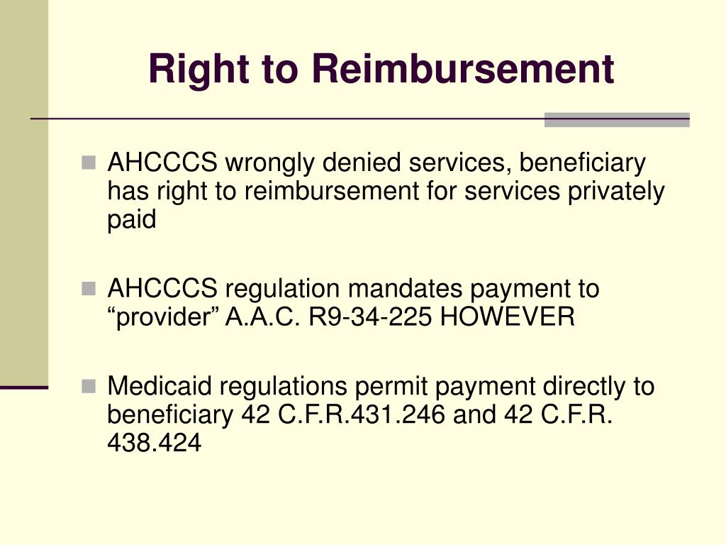 Right to Reimbursement