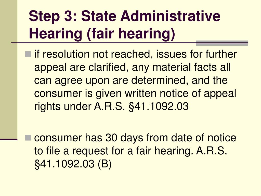 Step 3: State Administrative Hearing (fair hearing)