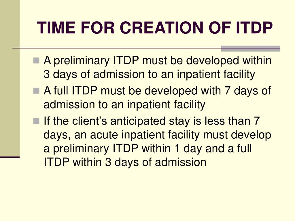 TIME FOR CREATION OF ITDP