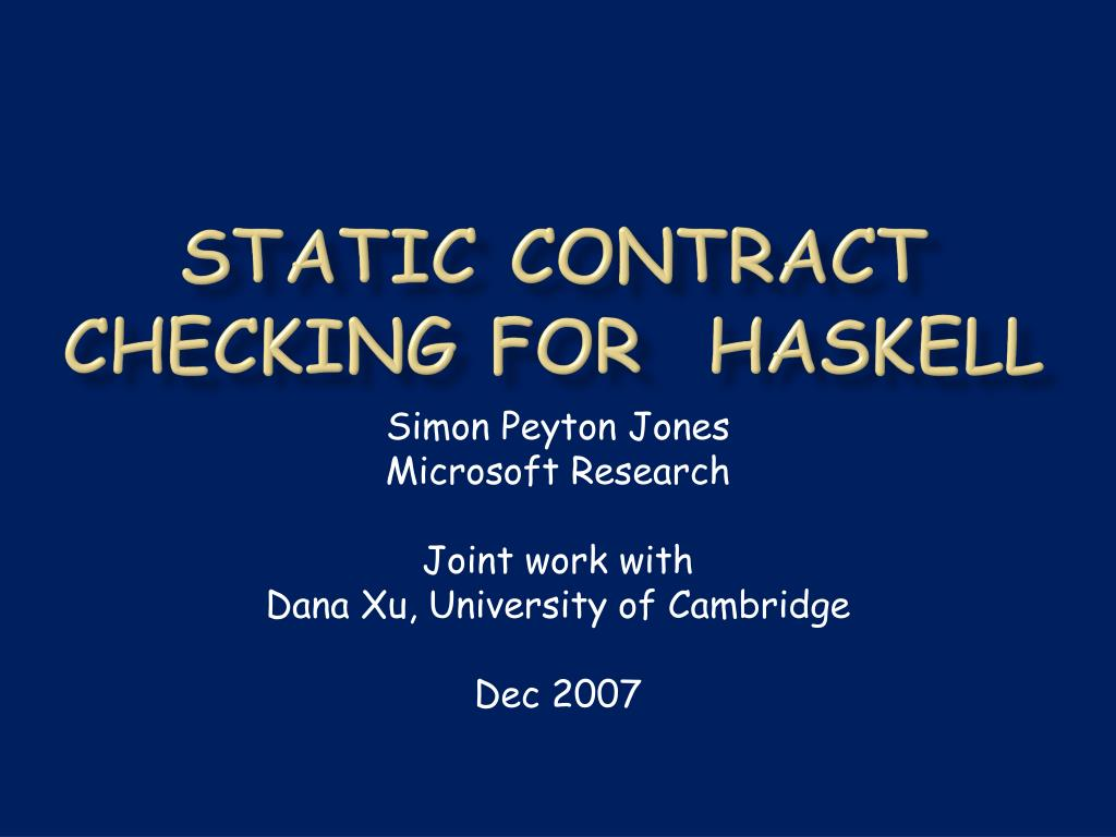 static contract checking for haskell l.