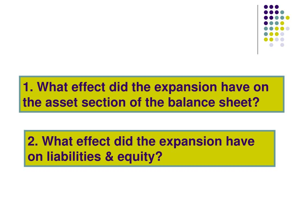 1. What effect did the expansion have on the asset section of the balance sheet?