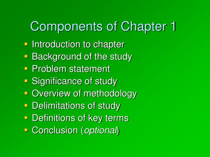 the company background, significance of study and definition of terms essay 2 purposes of a literature review in the context of a research paper on a thesis, the literature review provides a background to the study being proposed.