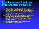 fiscal investment and loan program after 4 1 2001 i