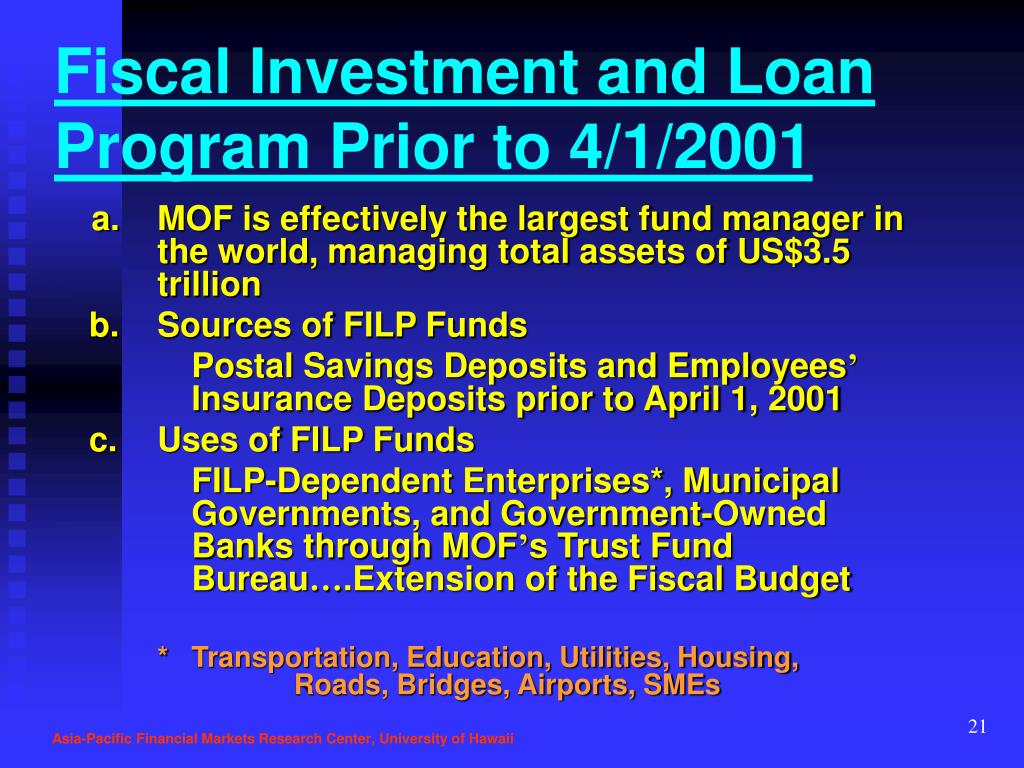 Fiscal Investment and Loan Program Prior to 4/1/2001