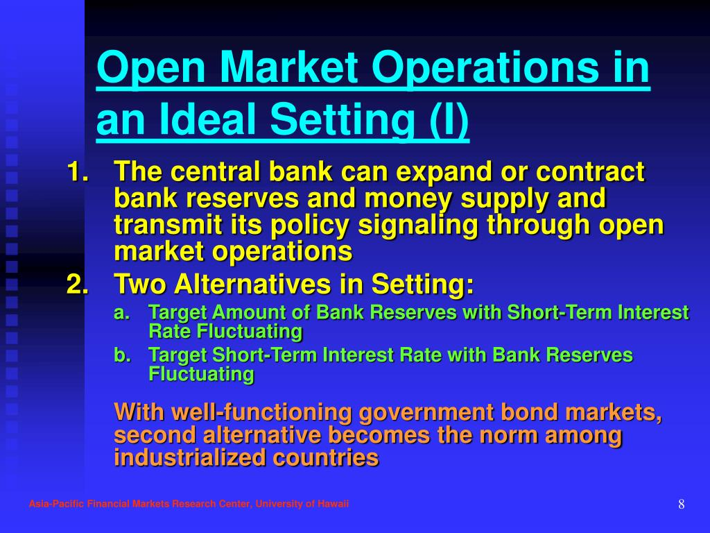 Open Market Operations in an Ideal Setting (I)
